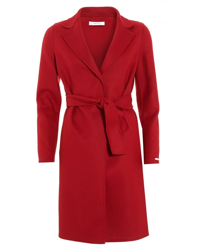 I Blues Womens Panteon Belted Red Coat