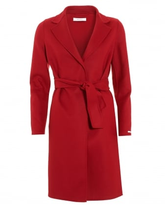 Womens Panteon Belted Red Coat