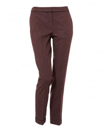 Womens Pirata Small Check Red Trousers