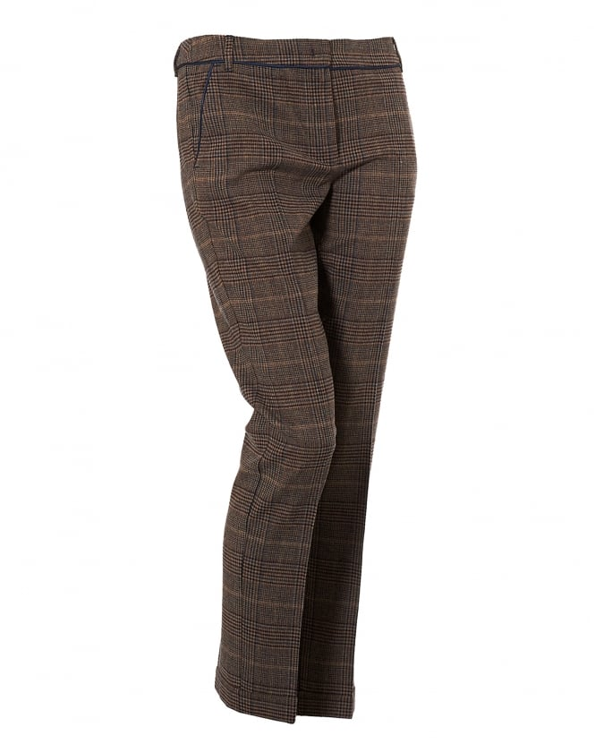 I Blues Womens Prince Of Wales Check Pirata Camel Trousers