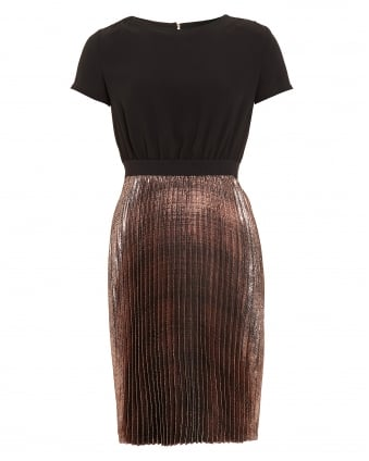 Womens Prisca Metallic Pleated Dress