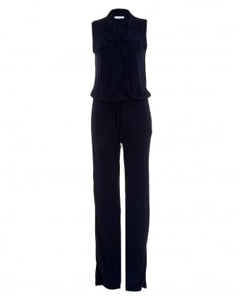 Womens Quagga Long Length Frill Navy Jumpsuit