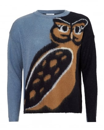Womens Queen Knit, Owl Print Light Blue Jumper