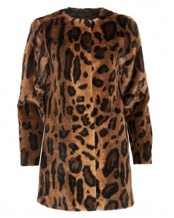 Womens Result Coat, Animal Print Textured Jacket