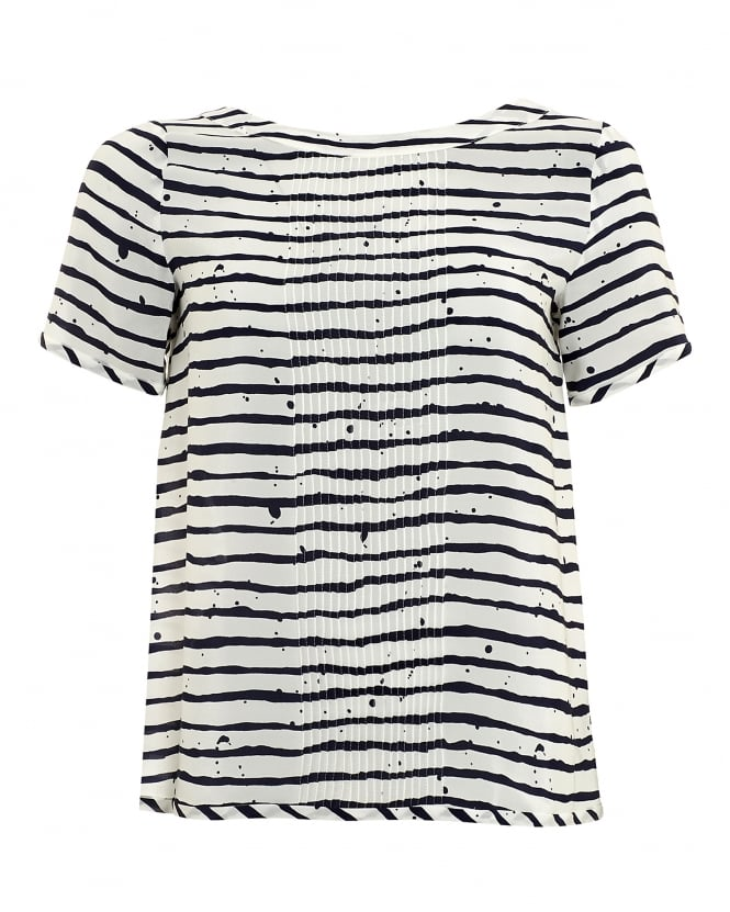 I Blues Womens Rigelo Top, White Navy Stripe T-Shirt
