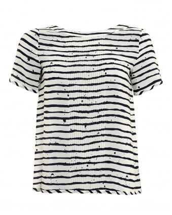 Womens Rigelo Top, White Navy Stripe T-Shirt