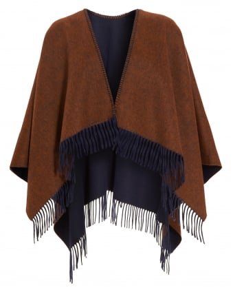 Womens Slogan Poncho, Navy Blue Tan Brown Fringe Cape