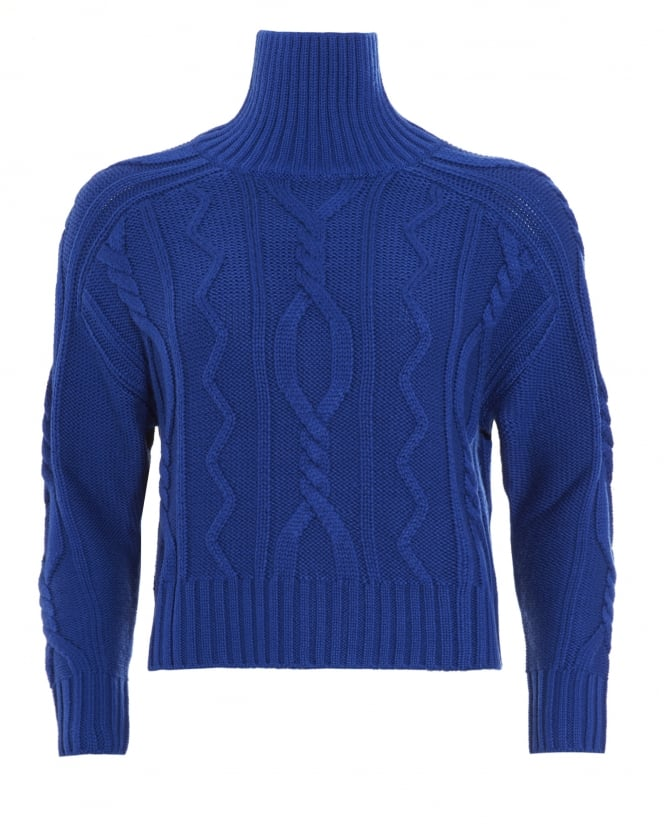 I Blues Womens Song Jumper, Electric Blue Cable Knit Sweater