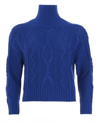 Womens Song Jumper, Electric Blue Cable Knit Sweater