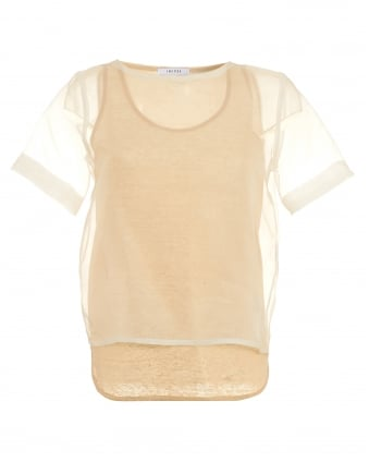 Womens Tamigi Top, Layered Metallic White Gold T-Shirt