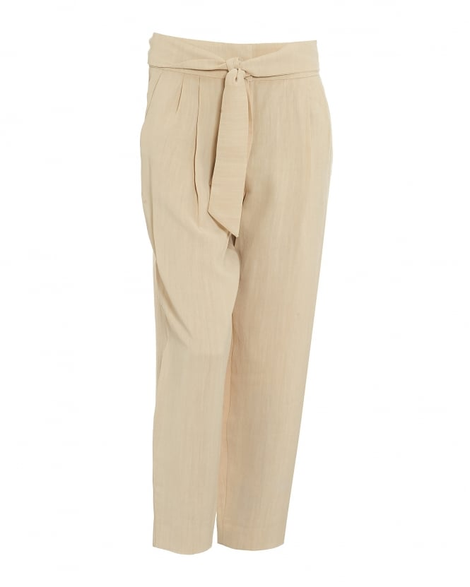 I Blues Womens Vivaio Beige Tie Waist Trousers