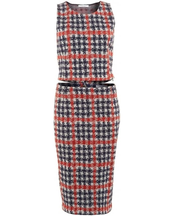 I Blues Womens Zaza Coordinates, Red Navy White Houndstooth Print Pencil Skirt Vest Top