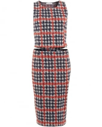 Womens Zaza Coordinates, Red Navy White Houndstooth Print Pencil Skirt Vest Top