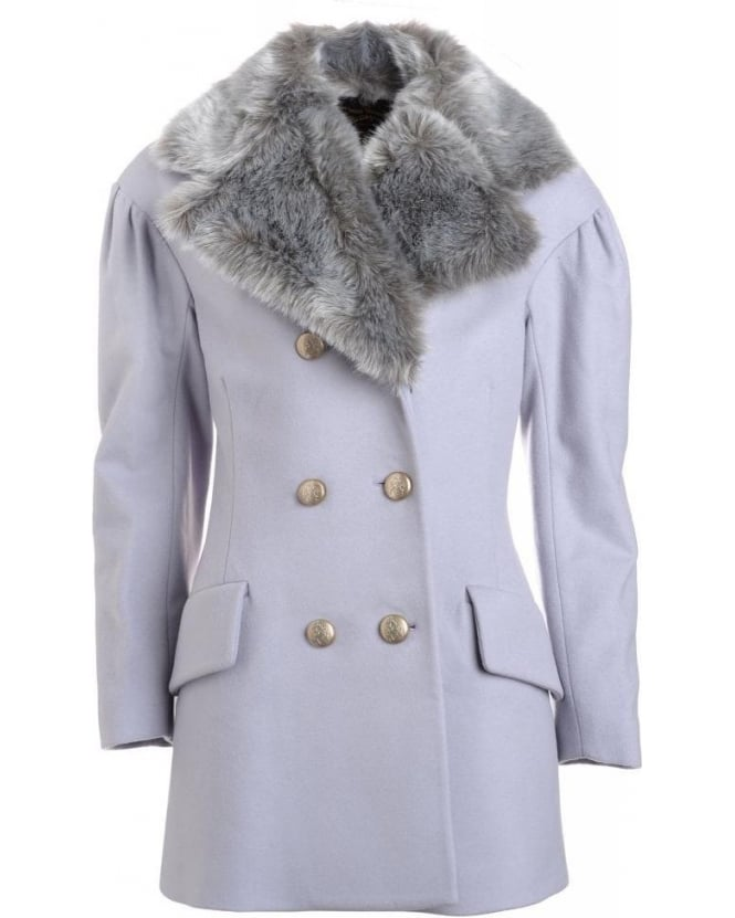 Vivienne Westwood Anglomania Ice Grey 'Risk' Peacoat with Detachable Faux Fur Collar