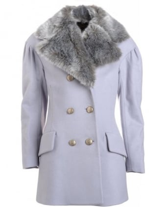 Ice Grey 'Risk' Peacoat with Detachable Faux Fur Collar