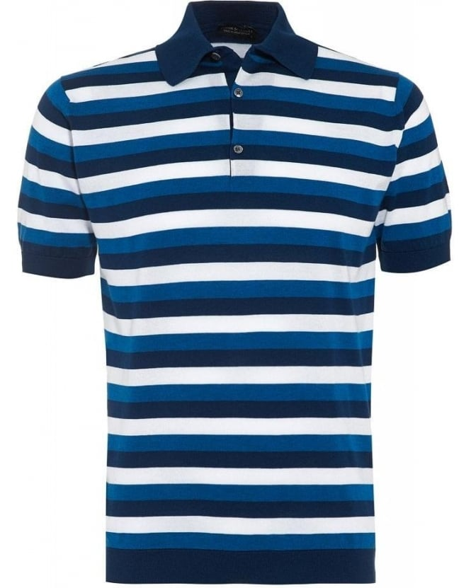 John Smedley Indigo Slim Fit Striped 'Knots' Polo Shirt