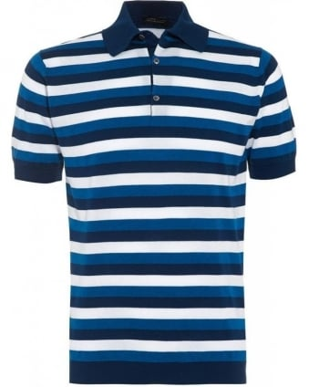 Indigo Slim Fit Striped 'Knots' Polo Shirt