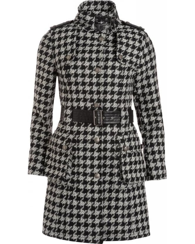 Barbour International, Black And White Houndstooth 'Popham' Coat