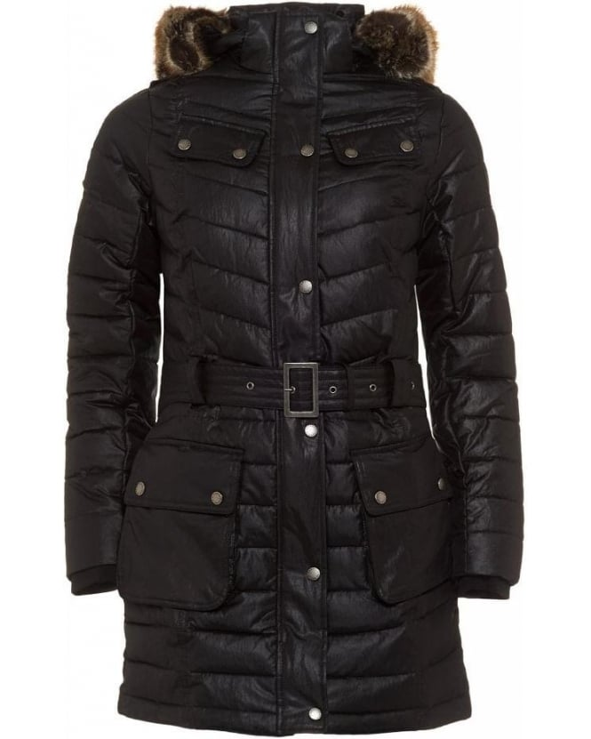 Barbour International Black Streak Hownsgill Parka, Black Quilted Jacket