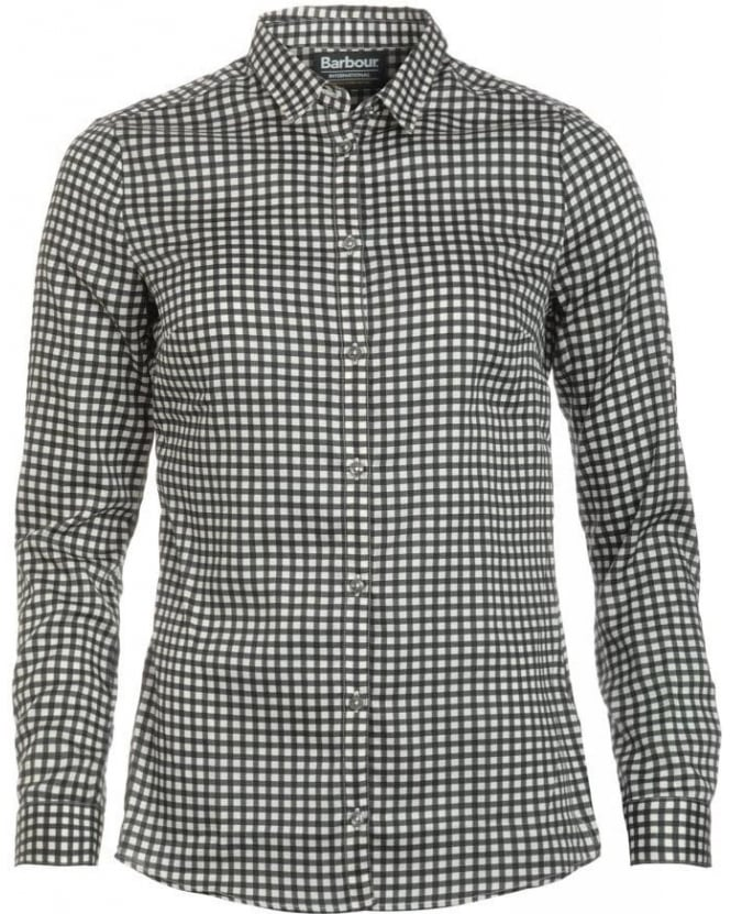 Barbour International Black Streak Shirt Black & White Check Annie Shirt