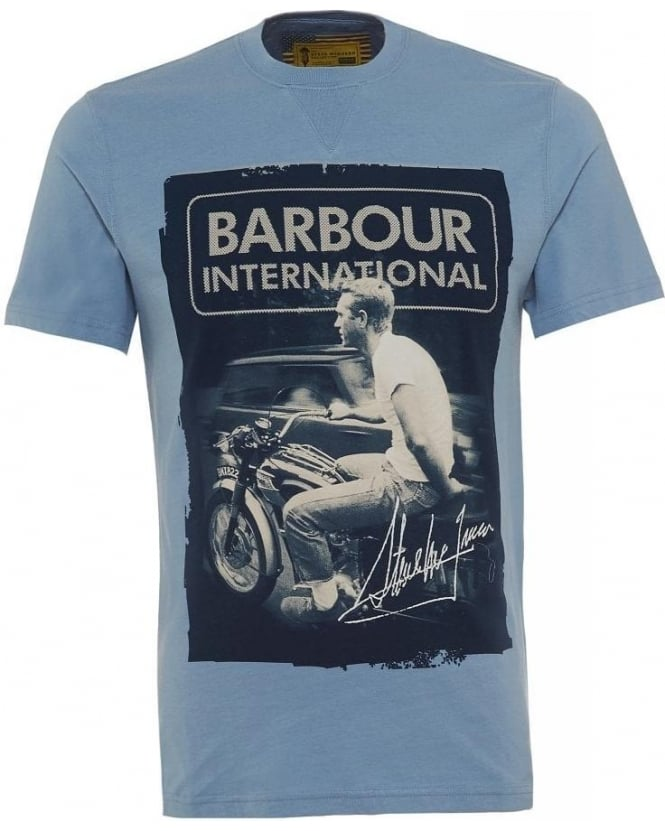 Barbour International Blue Steve McQueen Signed Regular Fit T-Shirt
