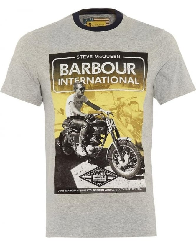 Barbour International Mens T-Shirt Blurred Cabell Grey Tee