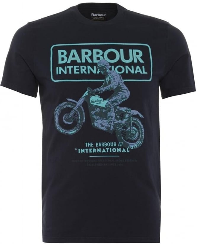 Barbour International Mens T-Shirt Rider Graphic Navy Tee