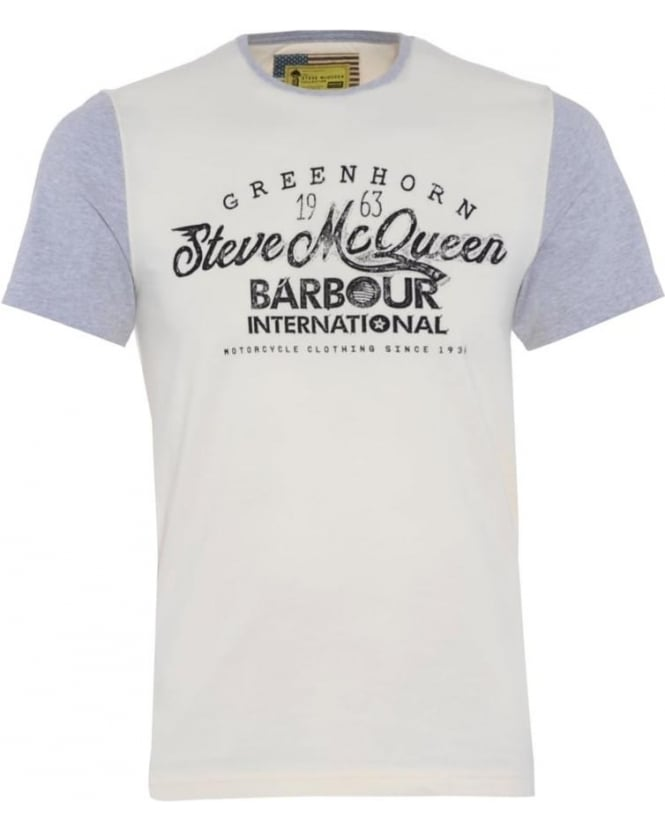 Barbour International Mens T-Shirt Vin Script Cream Grey Tee