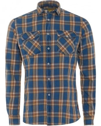 International Mens Thompson Shirt All Over Indigo Check Tartan Shirt