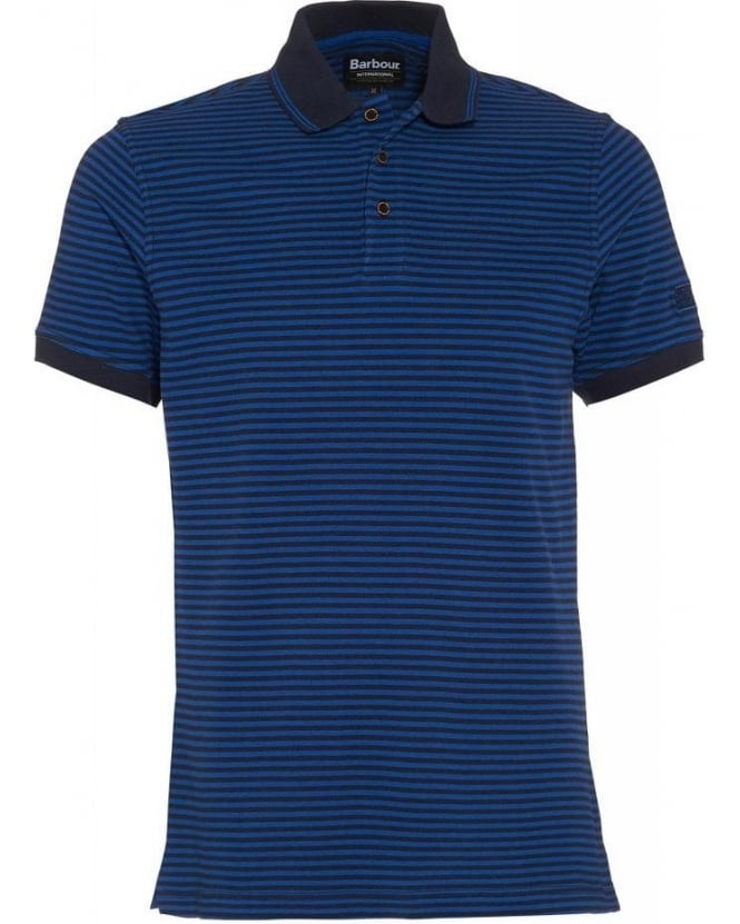 Barbour International Navy Blue Polo Shirt Striped Polo