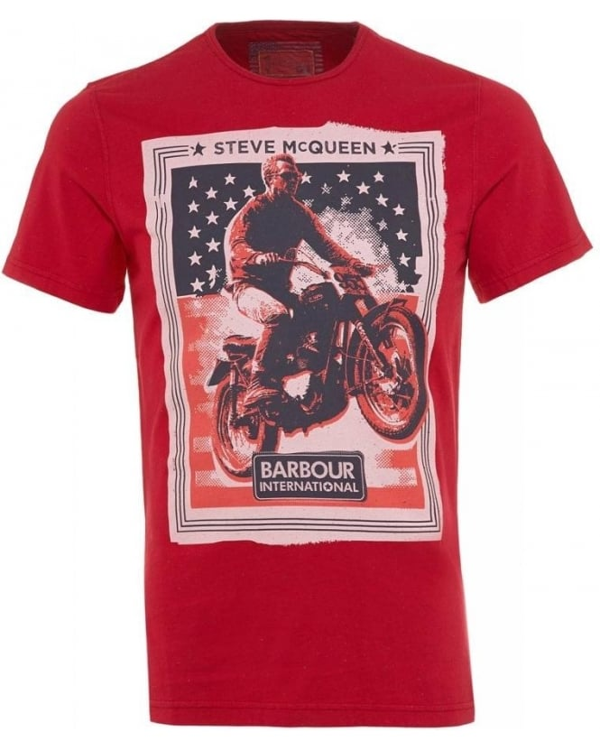 Barbour International Red Steve McQueen Regular Fit Poster T-Shirt