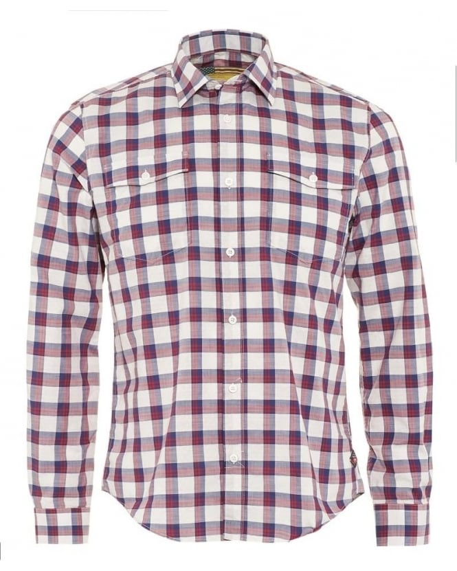 Barbour International Steve McQueen Sanford Mens Shirt Navy Red Check