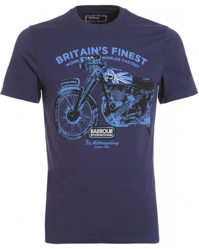 Barbour International T-Shirt, Midnight Blue Bickenhill Tourer Lux Tee
