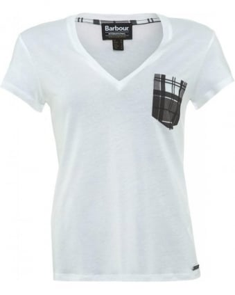 International White 'Folco' T-Shirt With Checked Pocket Detail