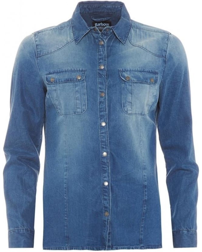 Barbour International Womens Broton Shirt, Washed Surf Blue Denim