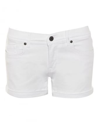 International Womens Broton Shorts, White Western Denim