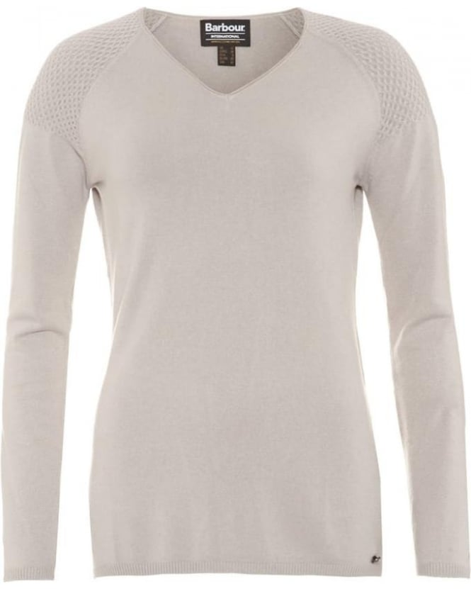 Barbour International Womens Delter Jumper, Opal Grey V-Neck Fine Knit