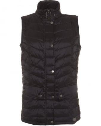 International Womens Gilet Delter Baffle Quilted Black Chevron Gilet