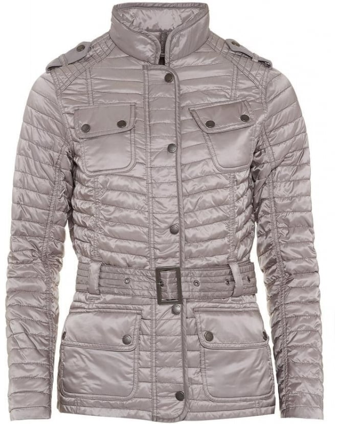 Barbour International Womens Jacket Leaf Spring Quilted Opal Grey Jacket