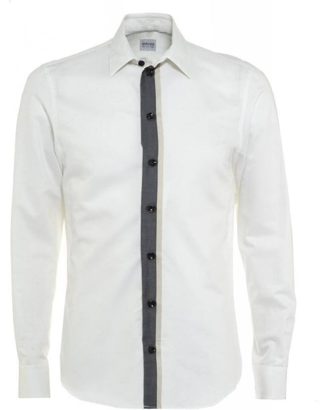 Armani Collezioni Ivory Twin Panel Stripe Modern Fit Shirt