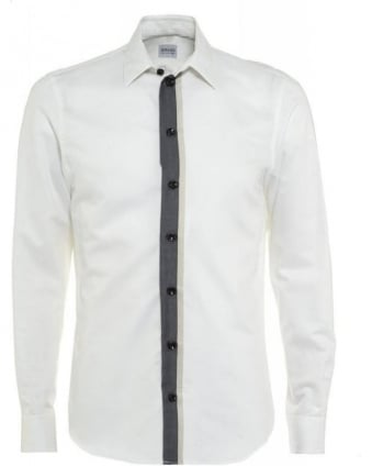 Ivory Twin Panel Stripe Modern Fit Shirt