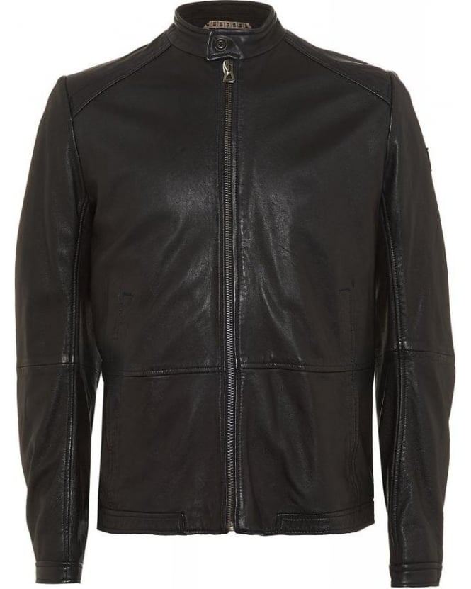 Hugo Boss Orange Jacket Black Jelon Leather Biker Jacket