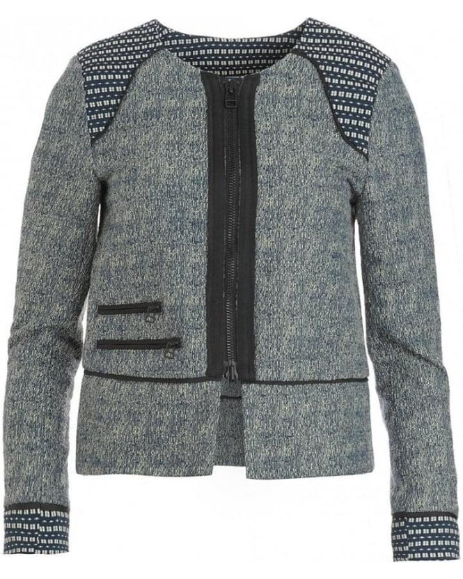 Jacket, Blue And Cream 'Day Coco' Tweed Blazer