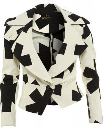 Jacket Cream & Black Asterix Jacquard Print Blazer