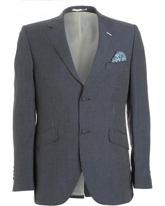 Holland Esquire Jacket, Navy Blue Fine Stripe Blazer