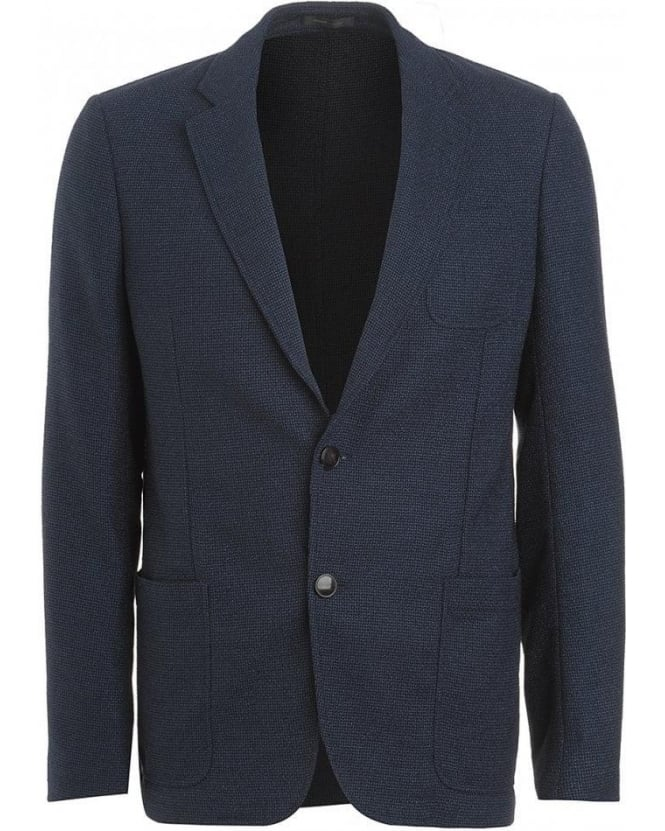 Armani Collezioni Jacket, Navy Single Breasted Jersey Jacket