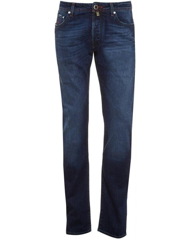 Jacob Cohen Jeans Blue Tartan Patch Slim Jean