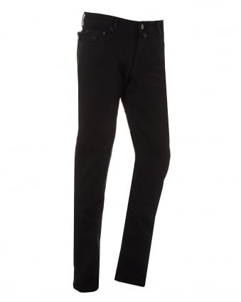 Mens All Black Jeans, Slim Fit Low Rise Denim