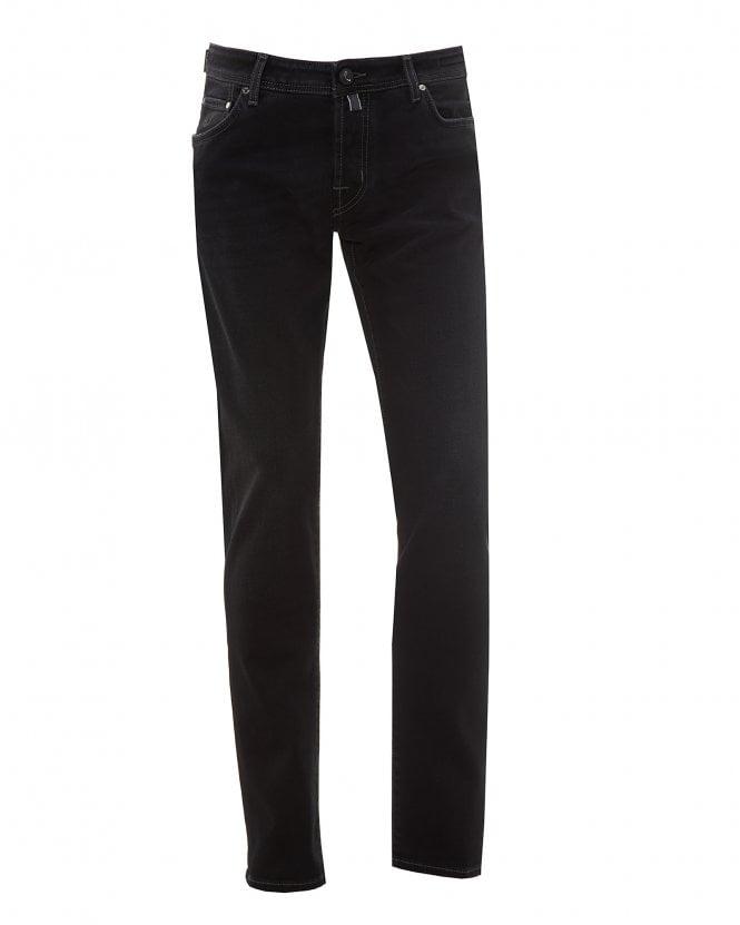 Jacob Cohen Mens Black Patch Slim Fit Jeans, Washed Black Denim