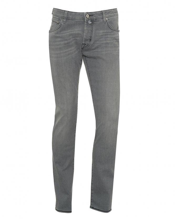 Jacob Cohen Mens Black Stitched Jeans, Slim Fit Grey Denim